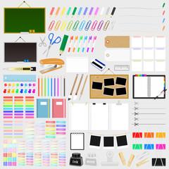 文房具・事務用品のイラストセット