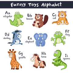 Funny animals alphabet. Cute cartoon animals with latin letters isolated on white background. Plush toys collection. Vector illustration of adorable baby animals.