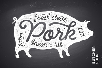 Trendy illustration with pig silhouette and words Pork, fresh, steak, bacon, farm, rib on black chalkboard background. Creative graphic design for butcher shop, farmer market. Vector Illustration