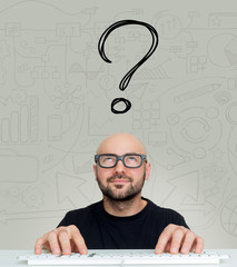 Young attractive bold man geek with glasses asking question to h