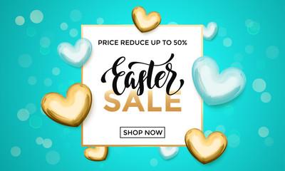 Easter sale gold heart glitter poster