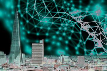 Modern city scape, skyscraper and network, neurone connection concept