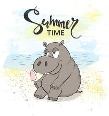 Cute Hippo with ice cream on the beach