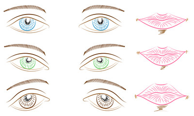 Hand Drawings of Different Types of Eyes and Lips. Blue, Green and Brown Eyes and Pink Lips. Sketch Style.  Vector Illustration.