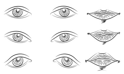Hand Drawings of Different Types of Eyes and Lips. Sketch Style. Vector Illustration.