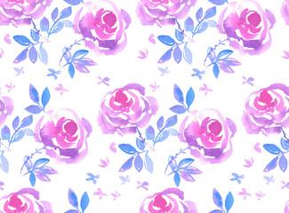decorative pink rose flower seamless pattern hand drawn watercol