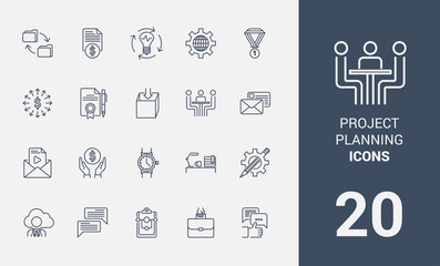 Set of project planning line icons