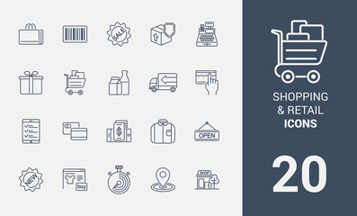 Set of shopping and retail line icons