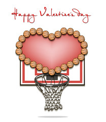 Valentine's Day and Heart from basketball balls