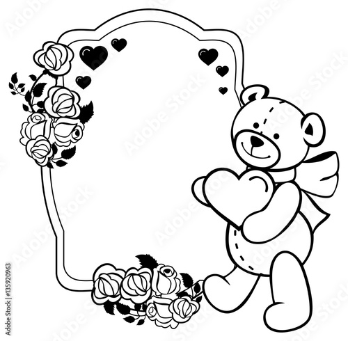 "coloring pages teddy bear holding roses | ""Oval label with outline roses and cute teddy bear holding ..."