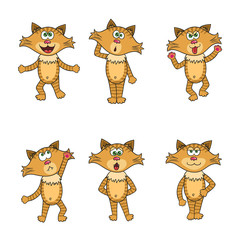 Red cartoon style isolated cats or kittens set
