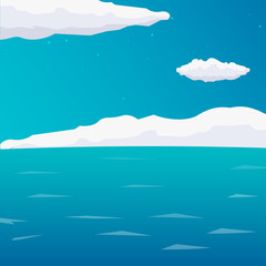 Sea background with waves and clouds. Vector flat illustration.