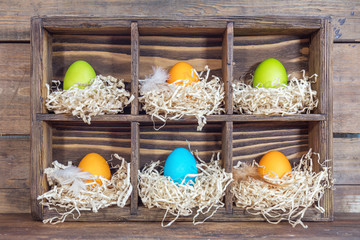 Easter colorful eggs in the nests in cell boxes