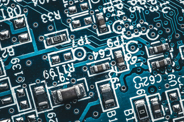 Circuit board. Technology and electronics closeup texture.