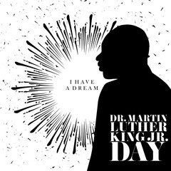 An illustration for MLK Day with the text I have a dream on a sunburst