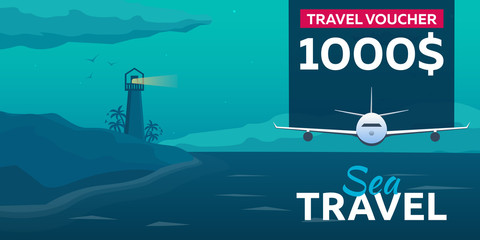 Travel voucher. Sea travel. Summer time. Sea background with waves, lighthouse and dolphins. Vector flat illustration.