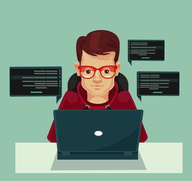 Young programmer man character coding. Vector flat cartoon illustration