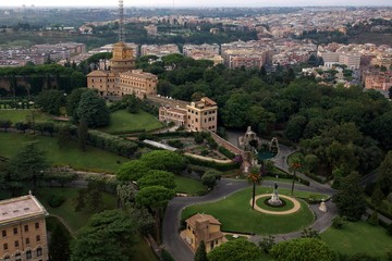 View of the building and gardens in Vatican, Rome, Italy