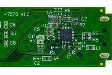 Spoed Fotobehang Op straat Close up of computer chip detail