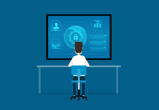 technology internet cyber security design concept and data security concept
