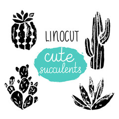 Vector cactus hand-drawn poster. Grunge silhouette print linocuts. Cacti isolated on the white background. Grunge design with potted cacti and succulents. Vector illustration.