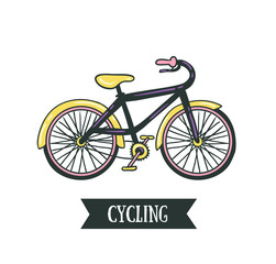 Vector hand drawn illustration with bicycle.  Cycling design isolated on the white background.