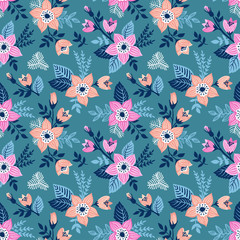 Vector seamless pattern with flowers. Floral background in hand drawn childish style.