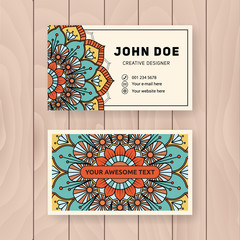 Creative useful business name card design. Vintage colored Mandala design for personal name card, visiting card or tag. Round ornament vector illustration.