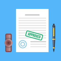 Approved document with stamp and pen. Approved application concepts. Top view. Premium quality. Modern flat design graphic elements. Vector illustration