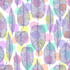 Vintage seamless pattern with decorative leaves.
