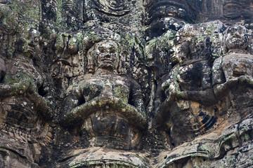 Ancient stone sculptures at The Bayon temple, Angkor, Cambodia