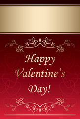 happy valentines day - red vector background with gold decoratio