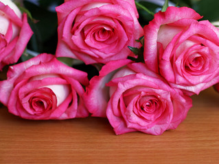Bouquet of roses closeup.