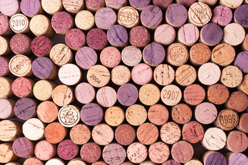 Closeup of used wine corks