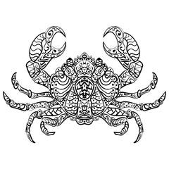 Zentangle stylized vector illustration crab