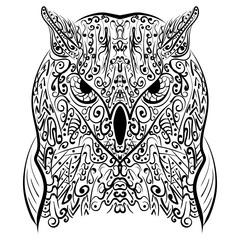 Zentangle stylized Black Owl vector illustration