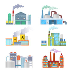 Industrial Factory Buildings Architectural Set. Vector illustration