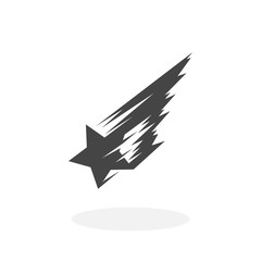 Shooting star Icon. Vector logo on white background