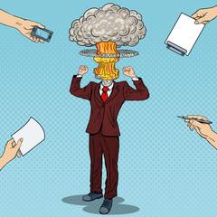 Pop Art Stressed Businessman with Explosion Head. Vector illustration