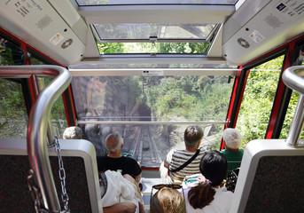 A funicular railway from harder Kulm to Interlaken