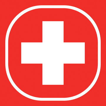 Icon Red cross. Vector.