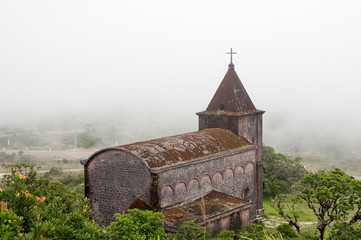 Abandoned French Church in Ghost town Bokor Hill station near the town of Kampot. Cambodia