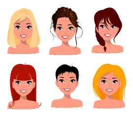 Young pretty women, pretty faces with different hairstyles. Cartoon beautiful girl, flat style. Avatar business woman. Vector illustration.