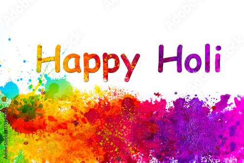 Holi Greetings Card With Many Colors Stock Photo And Royalty Free