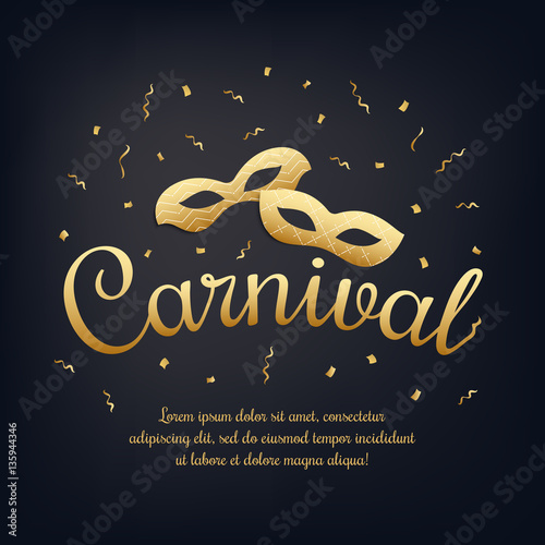 Gold lettering carnival with masquerade masks on black night gold lettering carnival with masquerade masks on black night background carnival invitation masquerade stopboris Image collections