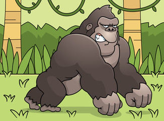 Cartoon Gorilla Jungle
