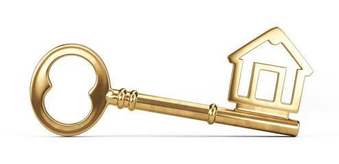 Gold House Key isolated on white. 3d illustration