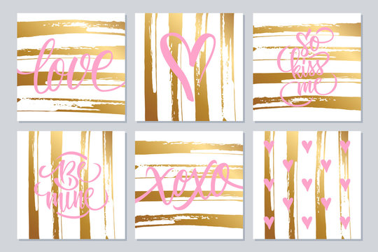 Set of cute cards with hand drawn elements and lettering text design with gold colored brush stroke background for romantic greetings and invitations. Vector illustration.