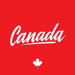 Handwritten word Canada. Calligraphic element for your design. Vector illustration.