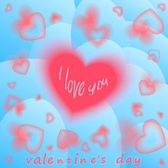 day valentine Hearts Batskground vith Bloor. Greeting Card. Vector illyustration. blue